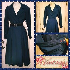 VTG 70s JNY Navy Faux Wrap Dress w/Full Skirt Sz10